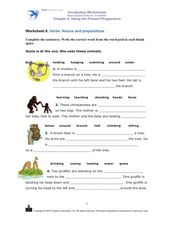 Using the Present Progressive: Nouns and Prepositions Worksheet