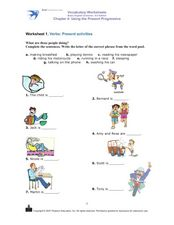 Using the Present Progressive: Verbs- Present Activities Worksheet