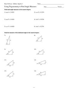 Using Trinonometry to Find Angle Measures Worksheet