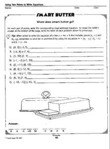 Using Two Points to Write Equations Worksheet