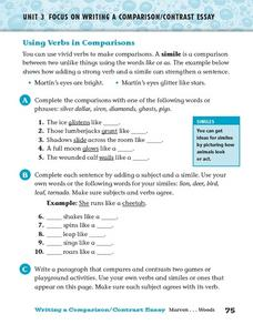 Using Verbs in Comparisons Worksheet
