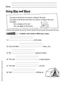 "Using ""Was"" and ""Were"" Worksheet"