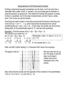 Using Zeros To Find Polynomial Functions Worksheet