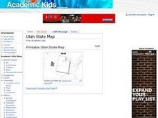 Utah State Map Worksheet