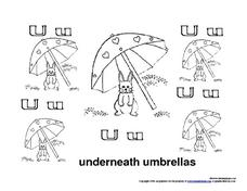 Uu: Underneath Umbrellas Worksheet