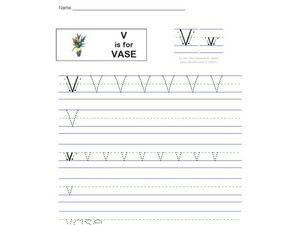 V is for Vase Worksheet