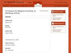 VA Statute for Religious Freedom, II. Matching Activity Lesson Plan