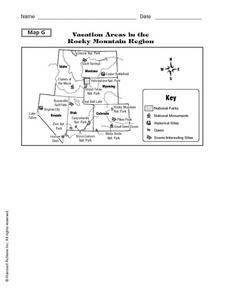 Vacation Areas in the Rocky Mountain Region: Map Activity Worksheet