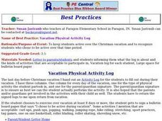 Vacation Physical Activity Log Lesson Plan