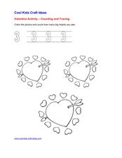 Valentine Activity: Counting and Tracing Worksheet