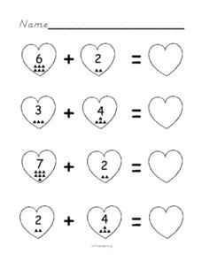 Valentine Addition Worksheet