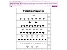 Valentine Counting-- 1 to 12 Worksheet