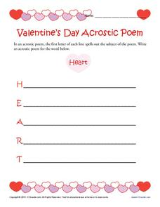 Valentine's Day Acrostic Poem Worksheet