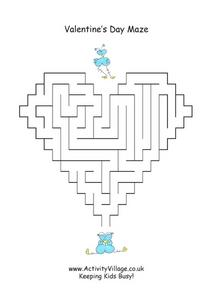 Valentine's Day Maze- Easier Worksheet