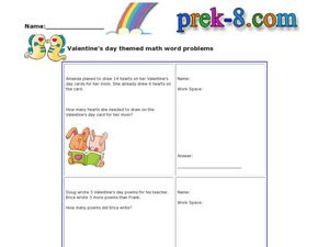 Valentine's Day Themed Math Word Problems Worksheet