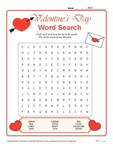 Valentine's Day word search Worksheet