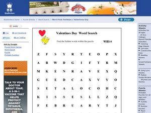 Valentines Day Word Search 2 Worksheet