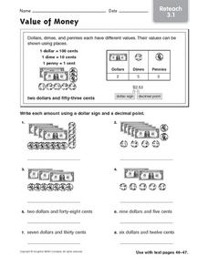 Value of Money Worksheet
