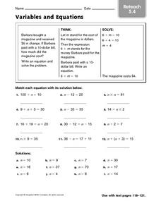 Variable and Equations: Reteach Worksheet