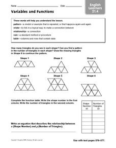 Variables and Functions: English Learners Worksheet
