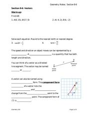 Vectors Worksheet