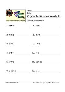 Vegetables Missing Vowels (2) Worksheet