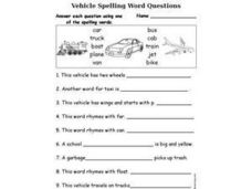 Vehicle Spelling Word Questions Fill in the Blank Worksheet Worksheet