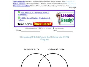 Venn Diagram: British Life and Colonial Life 4th - 6th Grade Worksheet ...