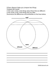 Venn Diagram-Compare 2 Insects Worksheet
