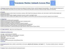 Venomous Marine Animals Lesson Plan