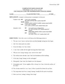 verb forms lie lay sit sat rise raise 6th 8th grade worksheet lesson planet. Black Bedroom Furniture Sets. Home Design Ideas