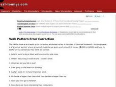 Verb Pattern Error Correction Worksheet