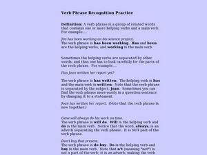 Verb Phrases Lesson Plan