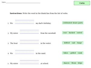 Verb Practice 8 Worksheet