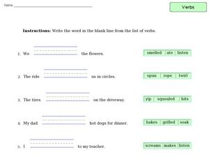 Verb Practice 9 Worksheet