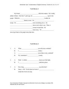 Verb Review 1 and 2 Worksheet
