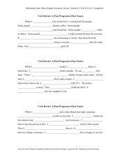 Verb Review 1 (Past Progressive/Past Tense) Worksheet