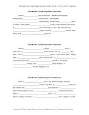 Verb Review: Past Progressive and Past Tense Worksheet