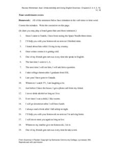 Verb Tense and Time Words Review Worksheet