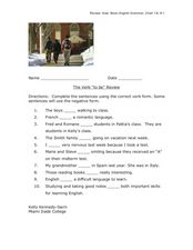"Verb ""to be"" Review Worksheet"