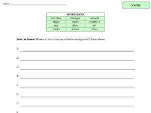Verb Word Bank Activity Worksheet
