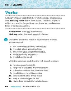 Verbs (Action and Linking) Worksheet