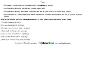 Verbs - Adding -ed Endings Worksheet