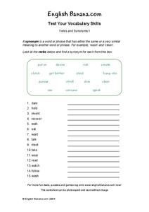 Verbs And Synonyms Worksheet