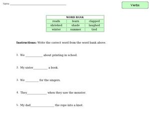 Verbs - Completing Sentences Worksheet