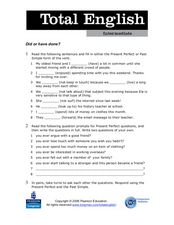 Verbs: Did or Have Done Worksheet