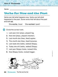 Verbs for Now and the Past Worksheet