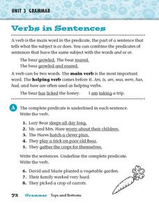 Verbs In Sentences Worksheet