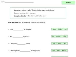 Verbs: Sentence Completions Worksheet