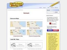 Vermont Map, Word Search, Scrambled Places and Crossword Puzzle Worksheet
